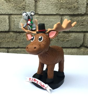 Custom Made Cute Moose Koala Wedding Topper