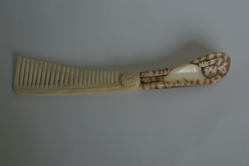 Custom Made Carved Bone Comb Kitty Cat Custom Example