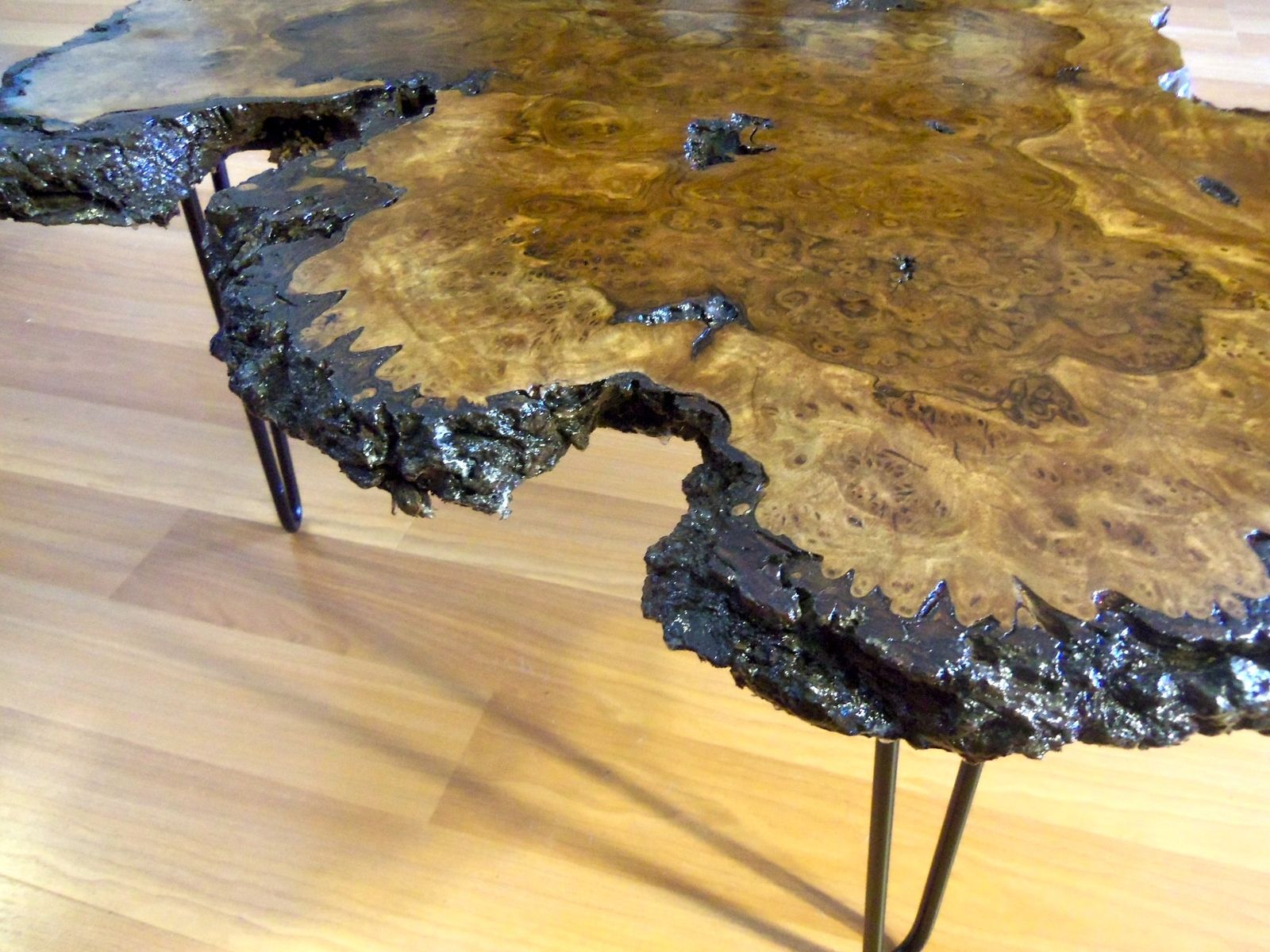 Hand Made Live Edge Black Walnut Burl Coffee Table by Ozma Design