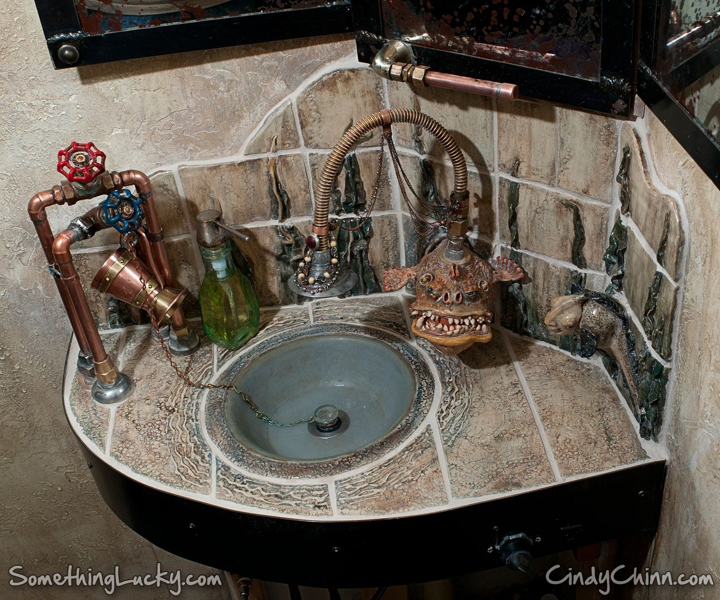 Dyconn Faucet Edison Bathroom Mirror Reviews: Hand Crafted Steampunk Sculpted Tile Sink And Vanity By