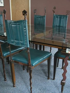 Custom Made Dining Room Chairs :: Contemporary Steel Metal And Leather Upholstery - Dining Set Collection, Sculptural Furniture