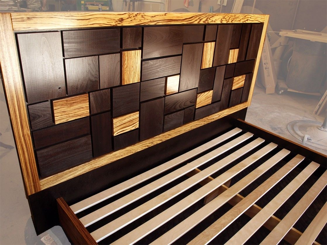 Hand Made Patterned Bed Headboard W/ Zebrawood Frame by Cc Fine ...