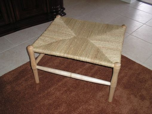Custom Made Maple Bench With Woven Seagrass Seat