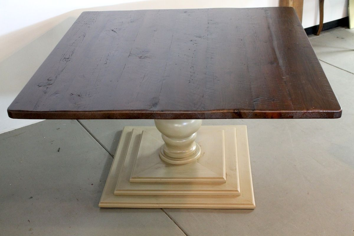 hand crafted 60 x 60 square dining room table with tiered tuscany