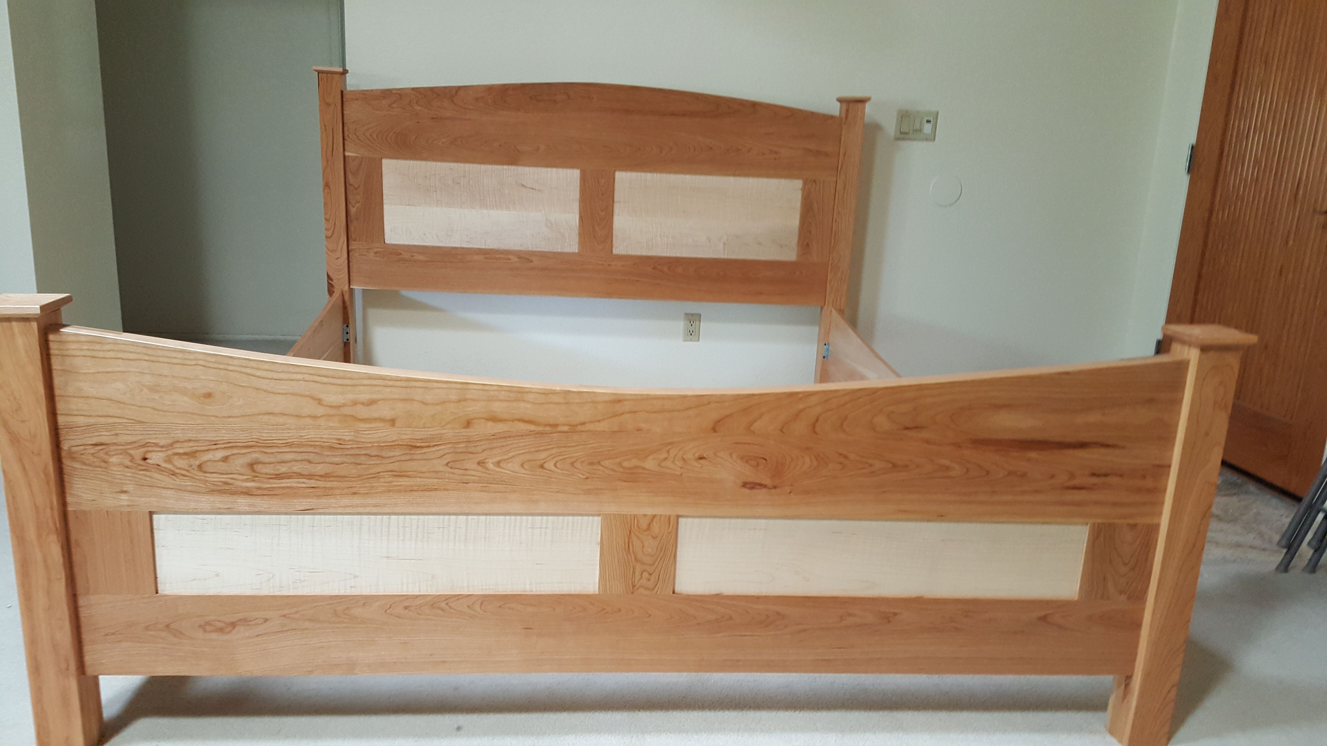 custom made bed frame cherry with curly maple bed headboard foot board and side - Maple Bed Frame