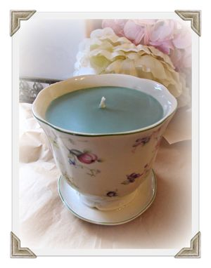 Custom Made Soy Candle, Irish Moss, Floral Planter, Green Wax, Attached Mini Saucer, Mother's Day