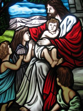Custom Made Custom Stained Glass Window, Jesus And The Children
