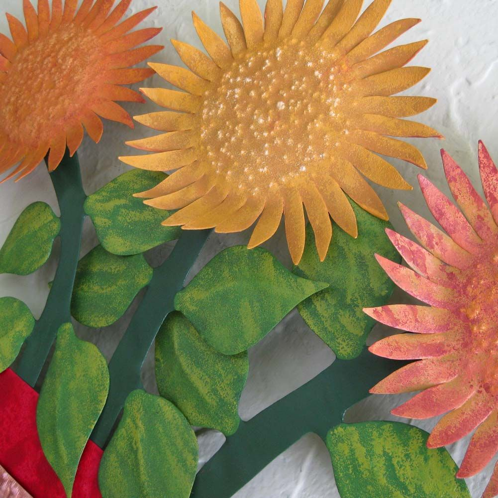 wide sunflower for home every com kitchen gift scroll benzara sculpture amazon dp metal one decor wall sunflowers