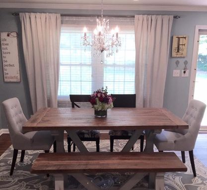 Custom Made X Style Farmhouse Dining Room Table