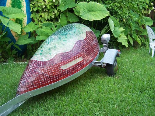 "Custom Made The ""Red Boat"" Outdoor Lighted Sculpture"