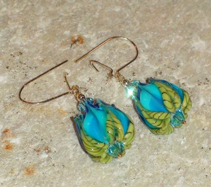 Custom Made Lampwork Capri Blue Flower Bud Earrings With Swarovski Crystals