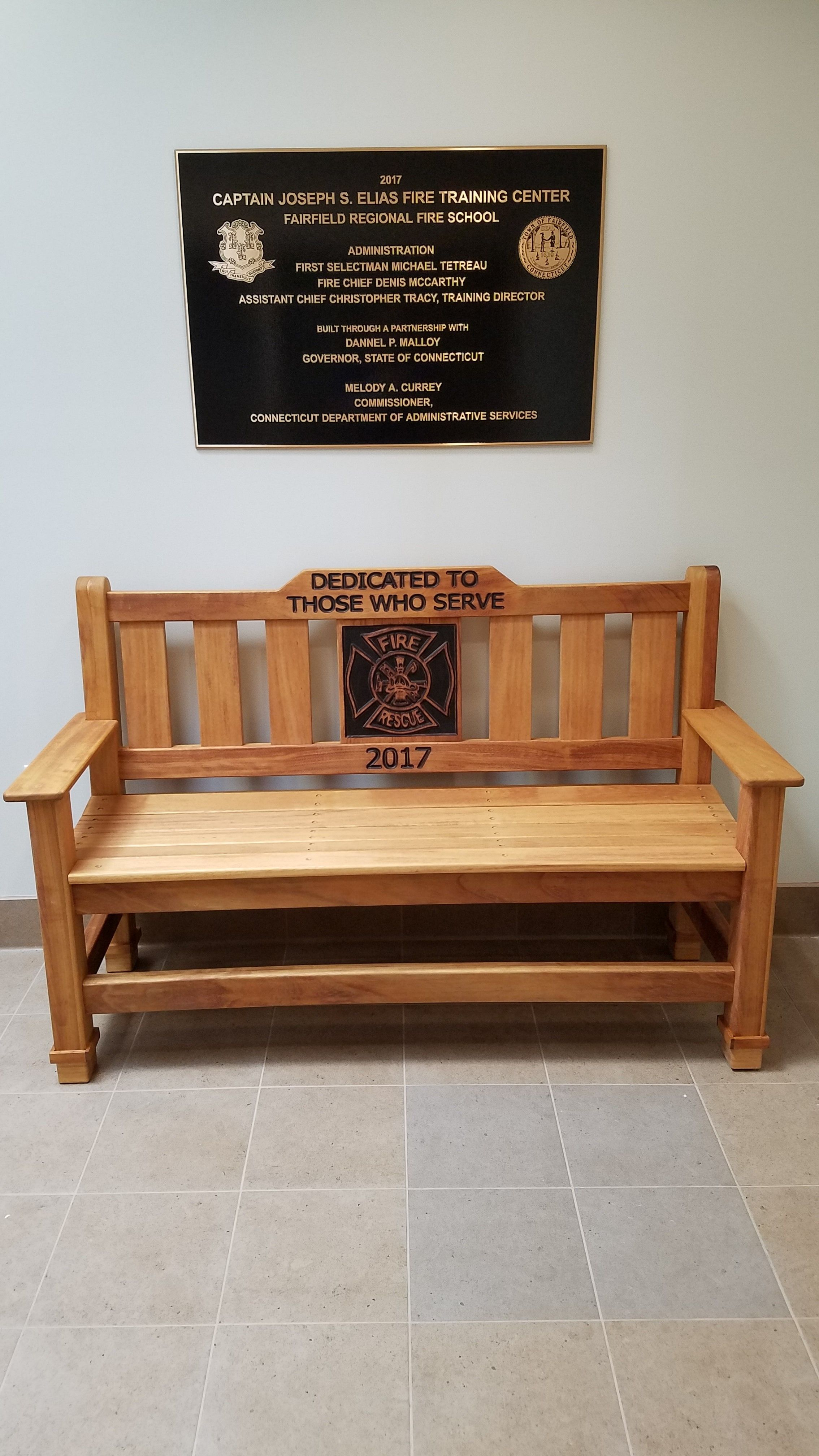 Hand Crafted Custom Made Memorial Park Bench Indoor