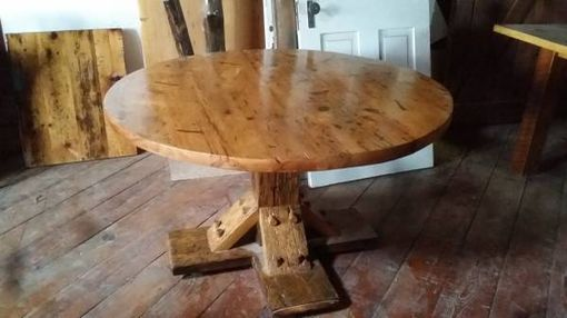 Custom Made Reclaimed Round Barn Wood Dinning Table