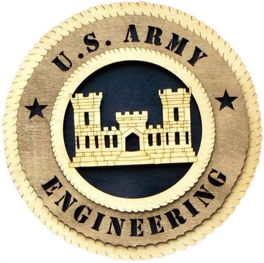 Custom Made U.S. Army Engineering Wall Tribute, U.S. Army Engineering Hand Made Gift