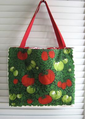 Custom Made Upcycled Tote Bag Made From A Tomato Themed Kitchen Towel