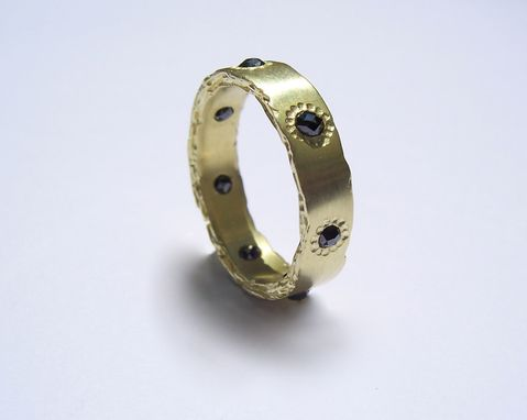 Custom Made 18kt Gold Rough Edge Band With Black Diamonds