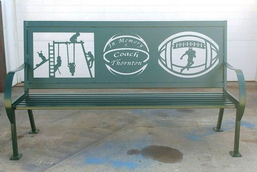 Custom Made Custom Personalized Vintage Style Iron Metal Six Foot Memorial Bench W/Exterior Powder Coat Finish