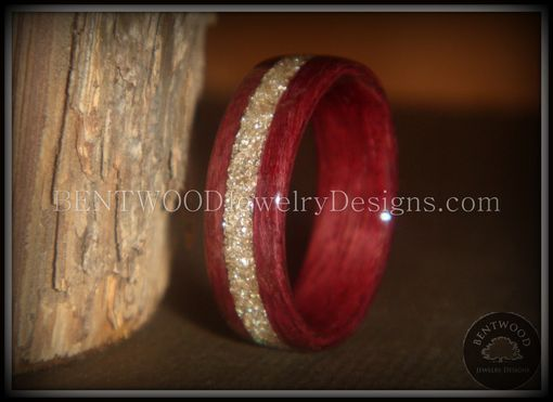 Custom Made Purpleheart Wood Ring With Pulverized Silver Glass Inlay