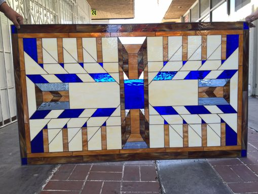 Custom Made Huge Triple Paned Stained Glass Window Insulated In Impact Resistant Tempered Glass
