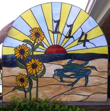 Custom Made Stained Glass Window / Transom Crab, Black Eyed Susans And Sunset (Am-44)