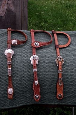 Custom Made Leather Headstalls With Silver Accents