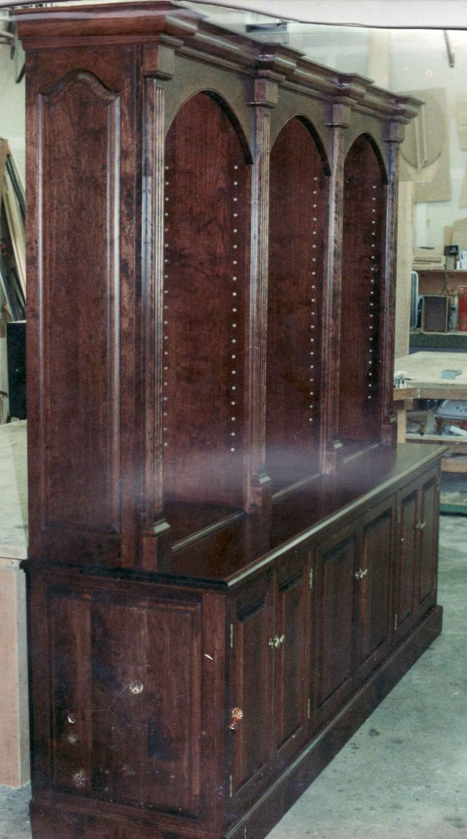 Hand Made Formal Library Bookcase W Arches By Gene Lyman