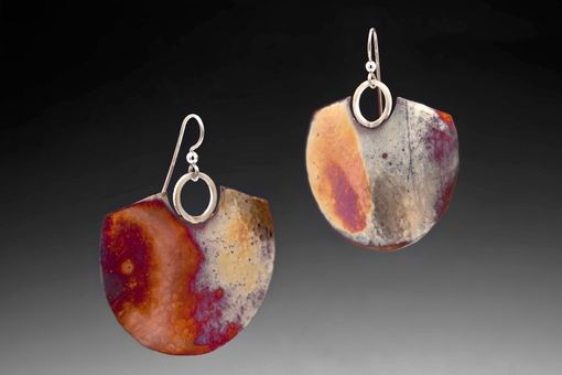 Custom Made Hammered Copper Earrings, Forged With Sterling Silver Earwires