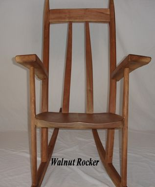 Custom Made Natural Edge Curved Back Walnut Rocking Chair