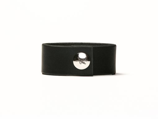 Custom Made Leather Cuff - Black - 1 Inch Wide