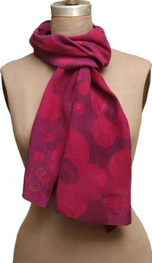 Custom Made Berry Stain Graphic Floral Scarf - Multi Layered