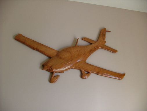 Custom Made Wood Carved Airplane Wall Hanging