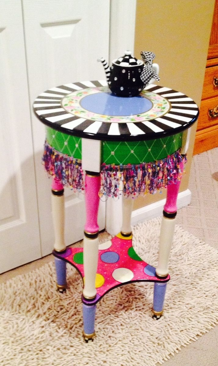 Hand crafted hand painted round side accent table custom for Hand painted furniture ideas