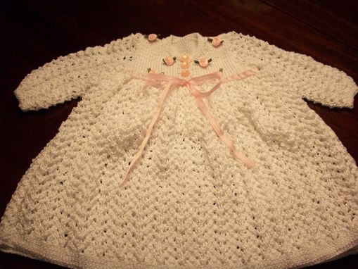 Custom Made Hand Knit Baby Outfit, Dress, Hat(Bonnet) And Booties.