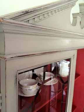 Custom Made Antique Distressed Chalk Painted Teak China Hutch