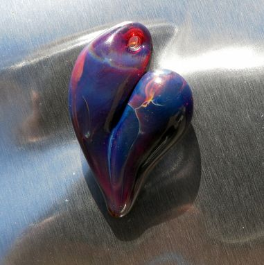 "Custom Made Purple Hand-Blown Glass Heart Pendant With Red Accents ""Purple Passion''"