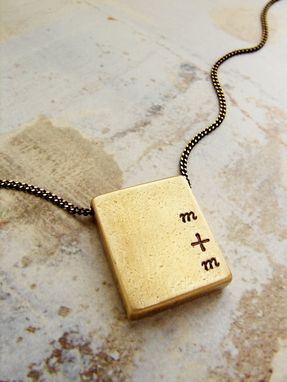 Custom Made Initial Necklace,Custom Hand Stamped Two Initial Necklace, Square Bar Necklace, Men Necklace