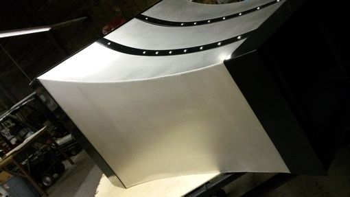 Custom Made Stainless Steel And Black Strap Range Hood