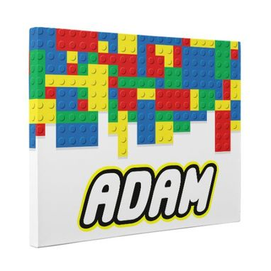 Custom Made Building Blocks With Custom Name Canvas Wall Art