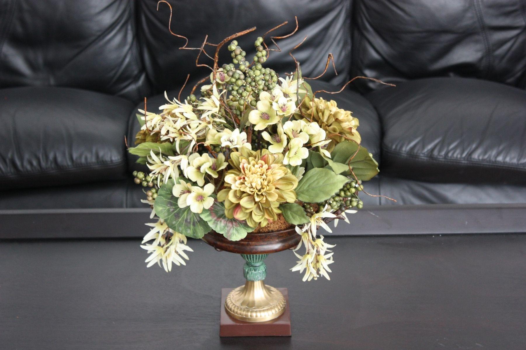 Hand Made Dining Table Centerpiece Silk Flower Arrangement Home