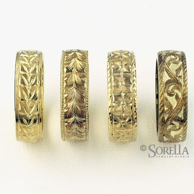 Custom Made Hand Engraved Wedding Bands In 14k Gold