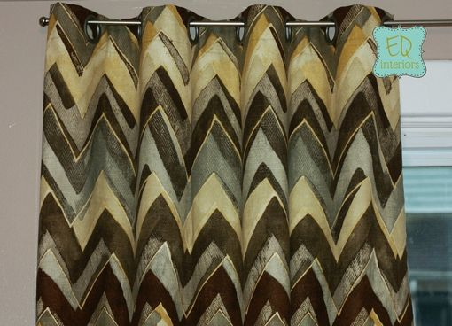 "Custom Made Grommet Curtain Panels Robert Allen Color Field Zest Linen Chevron Zig Zag 84""L X 50""W"