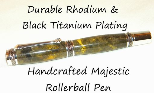 Custom Made Hand Crafted Majestic Rhodium & Black Titanium Rollerball Pen Double Dyed Buckeye Burl