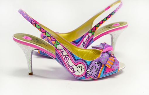 Custom Made Hand Painted Wedding Shoes - Bridal Shoes - Hand Painted Heels- Purple/ Pink Shoes