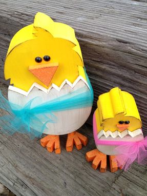 Custom Made Easter Decor -- Pair-A-Chicks