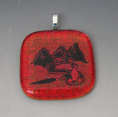Custom Made Laser Etched Dichroic Glass Custom Design Pendant
