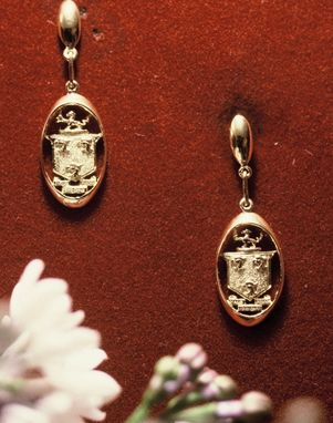 Custom Made Gold Dangle Earrings With Carved & Saw-Pierced 'Family Crest' Shield With Griffins