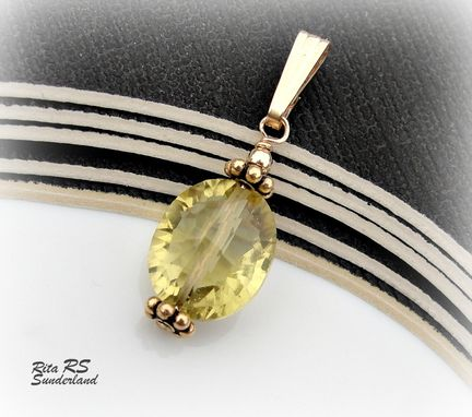 Custom Made Yellow Topaz And 14k Gold Filled Pendant