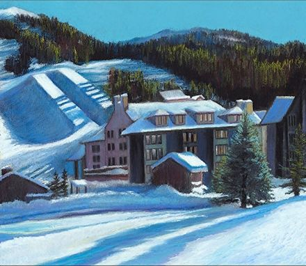 Custom Made Apres Ski, Copper Mountain (Colorado) Oil Pastel Unstretched - Limited Edition Canvas Print