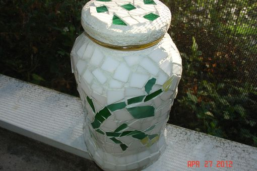 Custom Made Stained Glass Mosaic From A Repurposed Jar In Abstract Vines And Flower