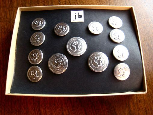 Custom Made Set Of Custom Blazer Buttons In Sterling Silver With Your Business Logo, Or Coat Of Arms